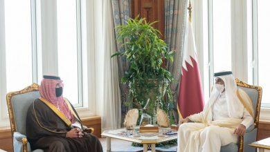 صورة أمير قطر يستقبل وزير الداخلية الأمير عبدالعزيز بن سعود بن نايف