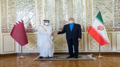 صورة وزير خارجية قطر يصل طهران ويبحث مع عبداللهيان تطورات أفغانستان