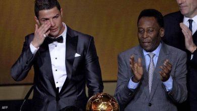 صورة بعد تحطيم رقمه كأفضل هداف في التاريخ.. بيليه يهنئ رونالدو