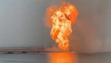 صورة حريق هائل في أحد خطوط البترول في مصر