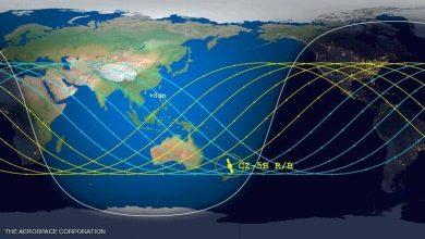 """صورة تحديد """"موعد ومكان"""" وصول الصاروخ الصيني إلى الأرض"""