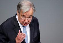 """صورة الأمين العام للأمم المتحدة: يبدي """"انزعاجه الشديد"""" لتدمير إسرائيل مبنى في غزة يضم مكاتب إعلامية"""