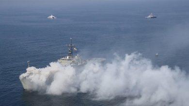 صورة غرق سفينة حربية إيرانية في خليج عمان