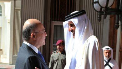 صورة أمير قطر يتلقى اتصالا من الرئيس العراقي