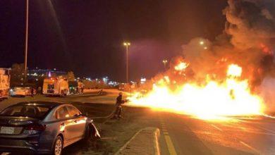 صورة الدفاع المدني يكشف حصيلة حادث حريق ناقلة المواد البترولية على طريق جدة – مكة السريع