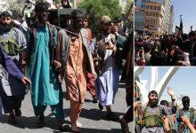 صورة شاهد مسلحو طالبان يطلون اللصوص باللون الأسود ويطوفون بهم الشوارع