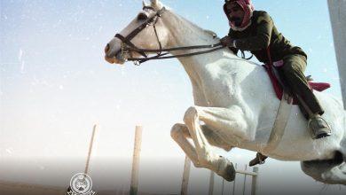 صورة صورة قديمة لأحد الفرسان بالحرس الوطني يستعرض مهارات ركوب الخيل قبل 44 عاما